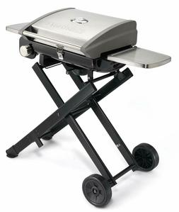 Portable Roll-Away Gas Grill Cast Iron Surface Side Shelves