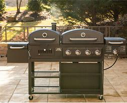Gas-Charcoal Grill Combo 4-Burner Push-Button Ignition Porce