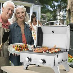 Propane Tabletop Gas Stainless Steel 2 Burner BBQ Grill 2000