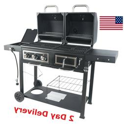 RevoAce Dual Fuel Grill Charcoal and Gas Black Stainless Ste