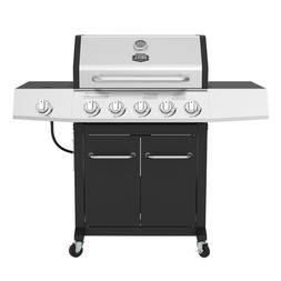 Stainless Steel Black 5-Burner LP Gas Grill W/ Side Burner O