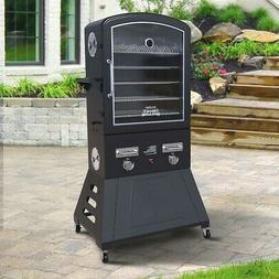 XXL Double Burner LP Gas BBQ Meat Vegetable Outdoor Smoker G